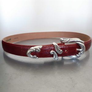coldwater creek, red leather belt with silver hardware